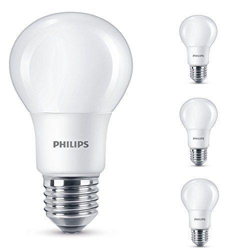 Philips 4er Set LED Leuchtmittel, matt, E27, 7,5 W (60 W), 4000 K, 806 lm, A+