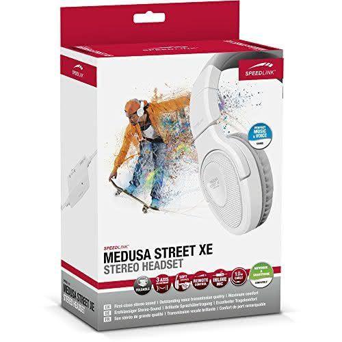 Speedlink (B-WARE) Kopfhörer mit Mikrofon - MEDUSA STREET XE Stereo Headset 3,5mm (Kabellänge 1m - Weiche, umschließende Ohrmuscheln - Noise-Reduction-Mikrofon) für Notebooks / Smartphones weiß-grau