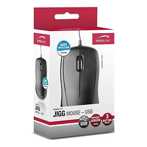 SPEEDLINK JIGG USB Optisch 1000DPI Ambidextrös Schwarz, Grau Maus - Mäuse (Ambidextrös, Optisch, USB, 1000 DPI, Schwarz, Grau)
