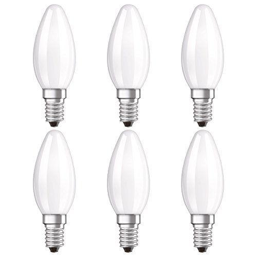 6x Osram LED Kerze Lampe | Sockel E14 |Warm White (2700 K) | ersetzt Glühlampen mit 40 W | 4,00 W | Matt | LED (R3.F50.6453 )