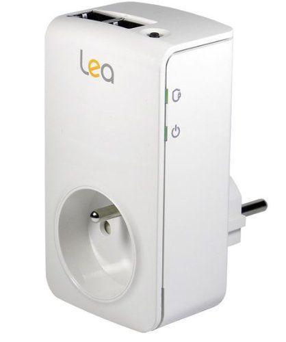 Lea NetSocket 200 Mono Nano 2 Ethernet Adapter CPL HomePlug AV mit integrierter Filter Steckdose 200 Mbps weiß