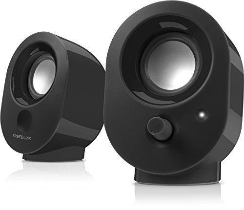 Speedlink (B-WARE) Aktive Stereo-Lautsprecher - SNAPPY Stereo Speaker USB (4W RMS Ausgangsleistung - stufenloser Lautstärkeregler - 1,2 m Kabellänge) Computer / Laptop schwarz schwarz