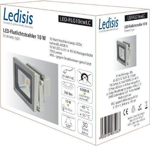 Ledisis LED-Strahler 10W, 700 lm, 6000K, IP65, kaltweiß LED-FLG10cwLC