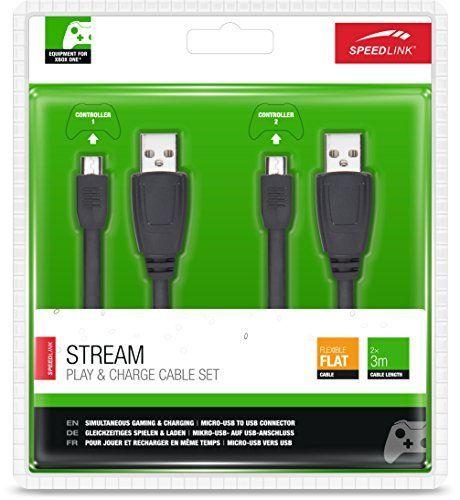Speedlink (B-WARE) Stream Xbox One Spiel- und Ladekabel für Controller (zwei Ladekabel, gleichzeitig spielen und laden)