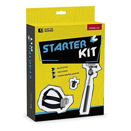 Speedlink (B-WARE) Zubehör für Action-Cams - Starter Kit for GoPro (Ausziehbare Teleskopstange - Gewinde-Adapter für handelsübliche Kameras - Verstellbare Action-Cam-Halterung für Kopf und Helm) schwarz