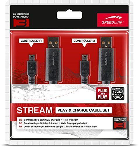 Speedlink (B-WARE) Ladekabel für PS3 - STREAM Play & Charge Cable Set (Ladekabel-Set für das PS3-Gamepad - gleichzeitiges Spielen und Aufladen des Controllers möglich - auch als USB-Datenkabel verwendbar) 3m Kabellänge schwarz