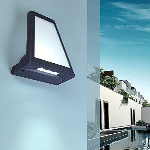 Eco Light Moderne LED-Außenwandleuchte inklusive 3 Farbfiltern, 570 und 120 lm, 25 x 22 cm, IP54 1874 S GR