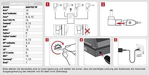 Speedlink (B-WARE) Pecos universelles Netzteil 65 Watt für Notebooks und Laptops (9 Steckeradaptern, siebenstufig einstellbare Spannung) schwarz glänzend