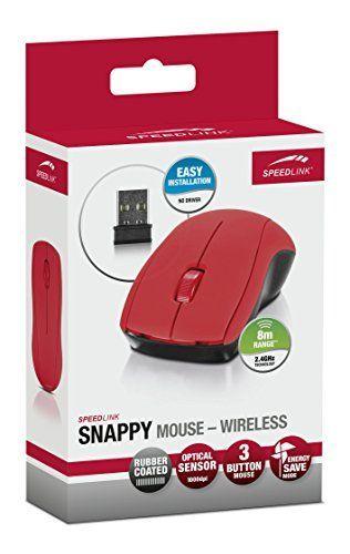 Speedlink (B-WARE) kabellose 3-Tasten-Maus - SNAPPY Mouse wireless USB (präziser optischer Sensor mit 1.000dpi - bis zu 8m Reichweite - Gummierte Oberfläche für sicheren Halt) Laptop / Tablet / PC / Computer wireless Mouse rot