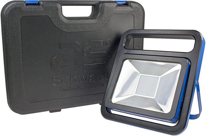 as - Schwabe Chip-LED-Strahler mit Akku und Koffer, 50 W, IP 54 Baustrahler für Aussen und Baustelle, 1 Stück, blau