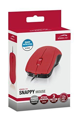 Speedlink (B-WARE) Vollwertige 3-Tasten-Maus - SNAPPY Mouse USB (geeignet für Rechts - und Linkshänder - bis zu 1000 DPI - Optischer Sensor) PC / Computer wired Mouse rot