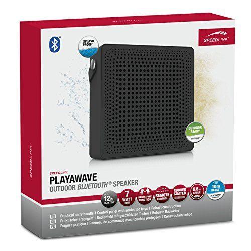 Speedlink (B-WARE) Playawave Outdoor Bluetooth-Lautsprecher (bis zu 12 Stunden Spielzeit, staubgeschützt, spritzwassergeschützt nach IP-Schutzklasse 65) schwarz grau