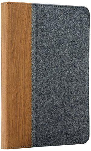 Speedlink stylische Tablet-Tasche - SENTEA Universal Case (praktische Standfunktion - Moderne Optik aus Holz und Filz - flexible Geräteaufnahme) für Tablet-PCs von 11 x 17,8 cm bis 12 x 18,8 cm grau-braun