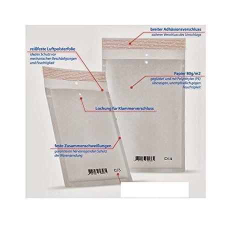 100 x Luftpolstertaschen Luftpolsterversandtaschen Versandtaschen Umschläge Weiss - Gr. D/3 [ 200 x 275mm ] Top Qualität Stück 0,09