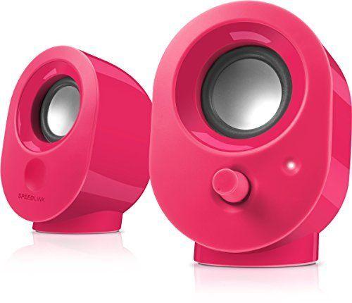 Speedlink (B-WARE) Aktive Stereo-Lautsprecher - SNAPPY Stereo Speaker USB (4W RMS Ausgangsleistung - stufenloser Lautstärkeregler - 1,2 m Kabellänge) Computer / Laptop berry berry