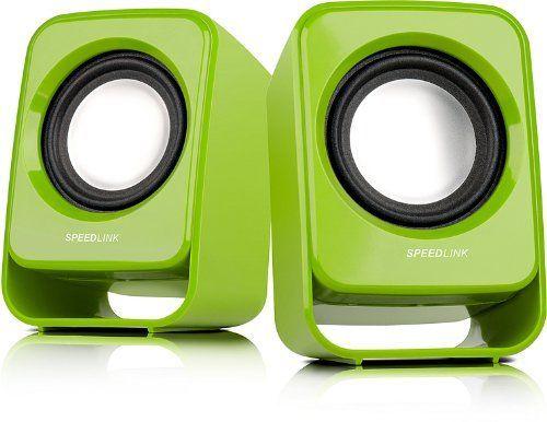 Speedlink (B-WARE) Snappy Aktiver-Lautsprecher (1 Watt RMS Ausgangsleistung, stufenloser Lautstärkeregler, USB) grün