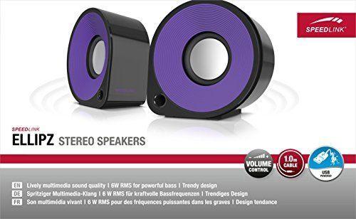Speedlink (B-WARE) Aktive Stereo-Lautsprecher - ELLIPZ Stereo Speakers USB (6W RMS Ausgangsleistung - Stufenloser Lautstärkeregler - Kabellänge 1m) Computer / Laptop schwarz-lila