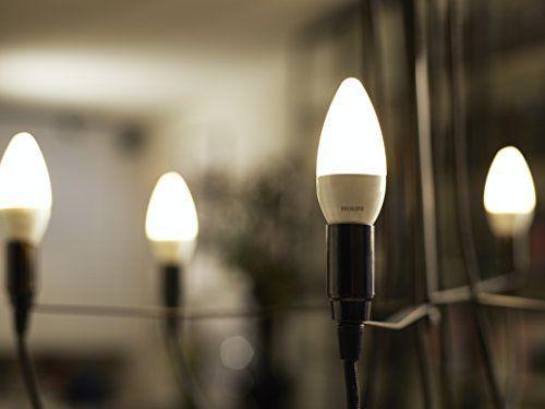 Philips LED Lampe ersetzt 40 W, E14, warmweiß (2700K), 470 Lumen, Kerze, Doppelpack [Energieklasse A+]