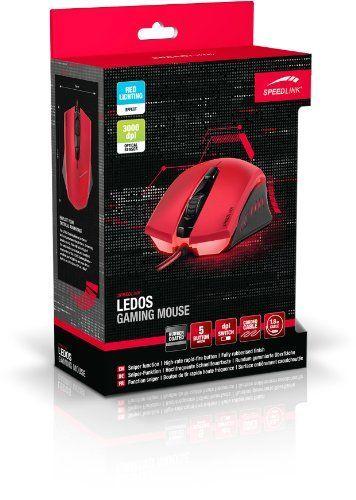 Speedlink (B-WARE) 5-Tasten Gamer Maus für PC / Computer - Ledos Gaming Mouse USB (Laser-Sensor, bis zu 3000 DPI - dpi-Schalter für schnellen Empfindlichkeitswechsel - Sniper-Taste, Schnellfeuertaste) rot