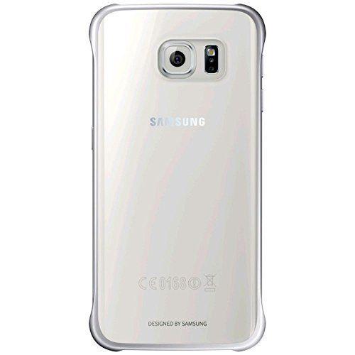 Samsung Slimline Clip-On Hülle Clear View Case Cover für Samsung Galaxy S6 Edge, Metallic silber/transparent