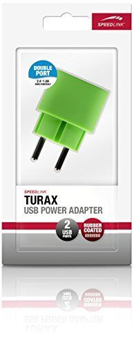 Speedlink (B-WARE) Turax Steckdosen-Ladegerät mit zwei USB-Anschlüssen (Paralleler Betrieb von 2,4A und 1A) grün