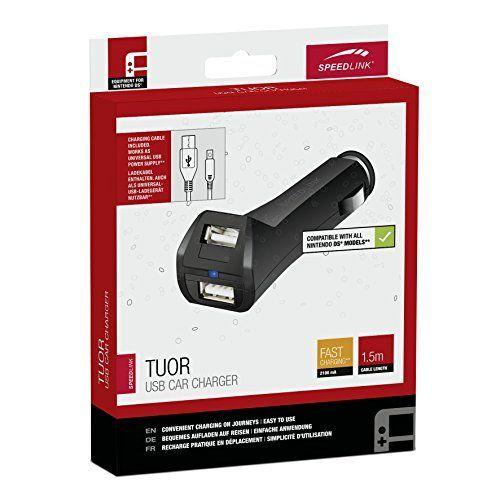 Speedlink Auto-Ladegerät für DSi, DSi XL, 2DS, 3DS, 3DS XL, New 3DS und 3DS XL - TUOR Car Charger USB (gleichzeitiges Spielen und Aufladen möglich - bequemes Aufladen auf Reisen - platzsparendes Design) 1,5m Kabellänge schwarz
