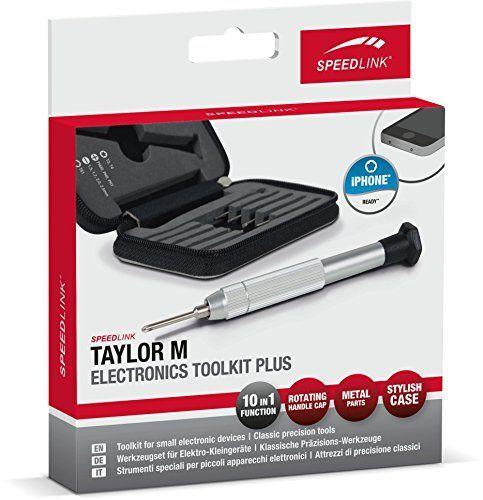 Speedlink (B-WARE) Praktisches Spezial-Werkzeugset - TAYLOR M Electronics Toolkit Plus (Auswahl an klassischen Präzisions-Werkzeugen - Aufbewahrungs-Etui mit Halterung für alle Teile - Aluminium Bit-Halter mit Drehkopf für einhändiges Arbeiten) z