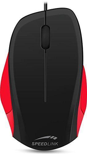 Speedlink (B-WARE) Robuste 3-Tasten-Maus - LEDGY Mouse USB (Ergonomische Form für Rechtshänder - bis zu 900 DPI - Optischer Sensor) PC / Computer wired Mouse schwarz-rot