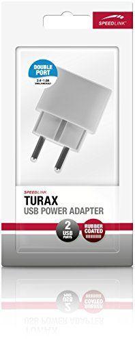 Speedlink (B-WARE) Turax Steckdosen-Ladegerät mit zwei USB-Anschlüssen (Paralleler Betrieb von 2,4A und 1A) grau