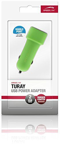 Speedlink Turay KFZ-Ladegerät mit zwei USB-Anschlüssen (Paralleler Betrieb von 2,1A und 1A, für 12-V-Zigarettenanzünder-Anschluss) grün