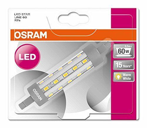9X Osram LED-Röhre | Sockel R7s |Warm White (2700 K) | ersetzt Glühlampen mit 60 W | 6,50 W | Klar | LED STAR LINE R7s