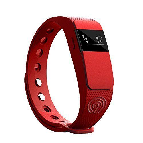 NINETEC Smartfit F2 Rot Fitness Tracker Bluetooth 4.0 Sport Armband Schrittzähler Aktivitätsarmband Fitnessarmband Sportuhr mit Schlafanalyse Kalorienanalyse SMS Anrufe