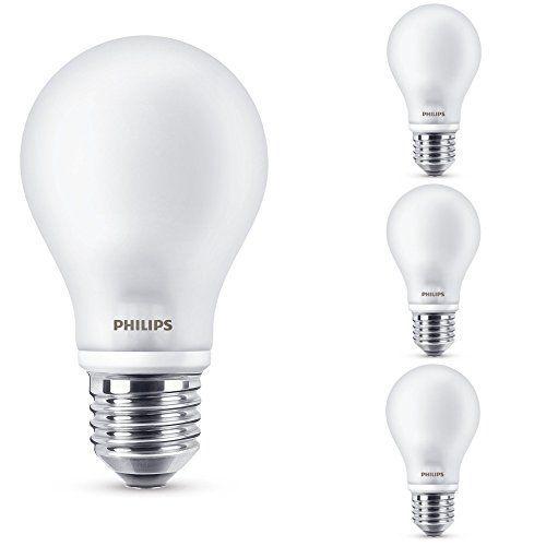 Philips 4er Set LED Leuchtmittel, matt, E27, 7w ersatz 60 W, 2700 K, 806 lm, A++