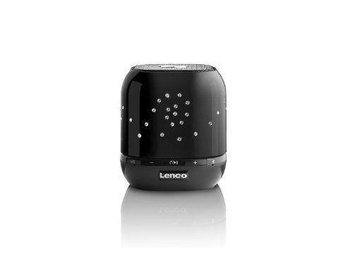 Lenco BTSW-1 City Romance tragbarer wireless Lautsprecher mit Swarovski Steinen (3 Watt RMS, Bluetooth, AUX-IN) inkl. mini-USB Kabel, Tasche und Freisprecheinrichtung schwarz