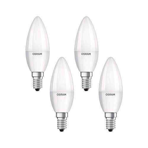 4x Osram LED-Lampe | Sockel E14 |Warm White (2700 K) | ersetzt Glühlampen mit 40 W | 5,70 W | Matt | LED BASE CLASSIC B