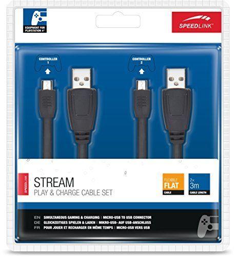 Speedlink (B-WARE) Ladekabel für PS4 - STREAM Play & Charge Cable Set (gleichzeitiges Spielen und Aufladen möglich - kompatibel mit DUALSHOCK4-Controllern - Ladekabel universell nutzbar) 3m Kabellänge schwarz 6/3/2/ 9406
