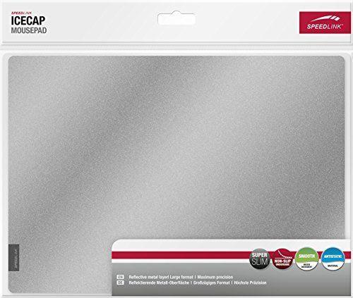 Speedlink reflektierendes Mauspad - ICECAP Mousepad (Besonders glatte Struktur für sanftes, lautloses Gleiten - Antistatische Wirkung - Absolut rutschfeste Unterseite) PC / Computer Maße: 29 x 21 x 0,15 cm silber