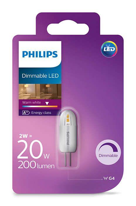 Philips G4 LED Dimmbar Stiftsockel 2 watts = 20W  A++ Warmweiß