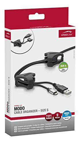 Speedlink (B-WARE) Kabelhalterungen - MODO Cable Organizer Size S (Klein und portabel - Einfaches Kabelmanagement - Besonders platzsparend) 9 Kabel-Halterungen schwarz 7093
