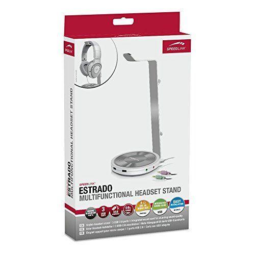 Speedlink (B-WARE) multifunktioneller Aufsteller für Kopfhörer - ESTRADO Headset-Aufsteller USB (Kabellänge 90cm - Hohe Klangqualität dank integrierter USB-Soundkarte - Praktische Betriebs-LED) schwarz 4-6-5-3031