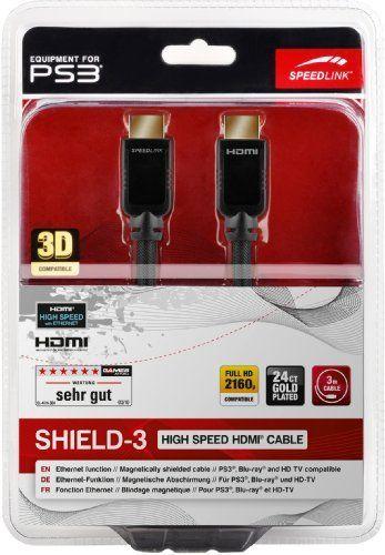 Speedlink (B-WARE) Shield-3 HDMI Kabel für PlayStation PS3/PS4 (Unterstützt 4K Auflösung in 3D, 60 Fps, 2160p, HDMI 2.0, Ethernet, 3m)