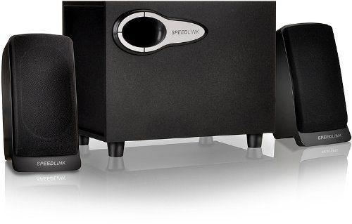 Speedlink (B-WARE) Mace Aktiver-Lautsprecher (Bassreflex Öffnung, Downfire-Technik, zuschaltbarer Bass Boost Funktion, Holzgehäuse) schwarz