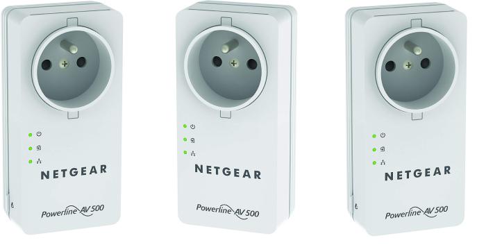 3x NETGEAR Powerline Network Kit AV+ 500 Netzwerkadapter Generalüberholt