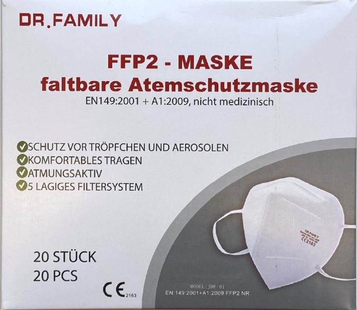 20x Dr. Family FFP2 Maske 5-lagig zertifiziert Atemschutz Mundschutz Masken Gesichtsschutz 0,299€Stück