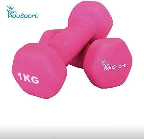 Fidusport Dumbbell Set aus Zement Neopren 2er Set (2x1kg - 2x2kg 2x3kg 2x5kg) - Gewicht Handgewicht Hanteln Gewichte Für Bodybuilding Fitness Gewichtheben (Pink, 2x1kg)