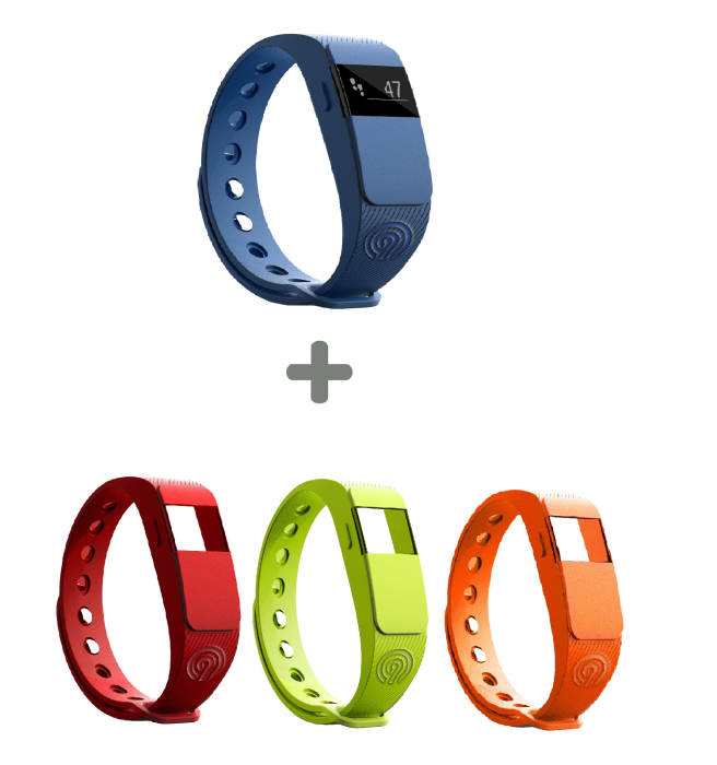 NINETEC Smartfit F2 Fitnesstracker + 3x Ersatz Armband Aktivitätsband Fitness (Blau / Rot / Grün / ORANGE)