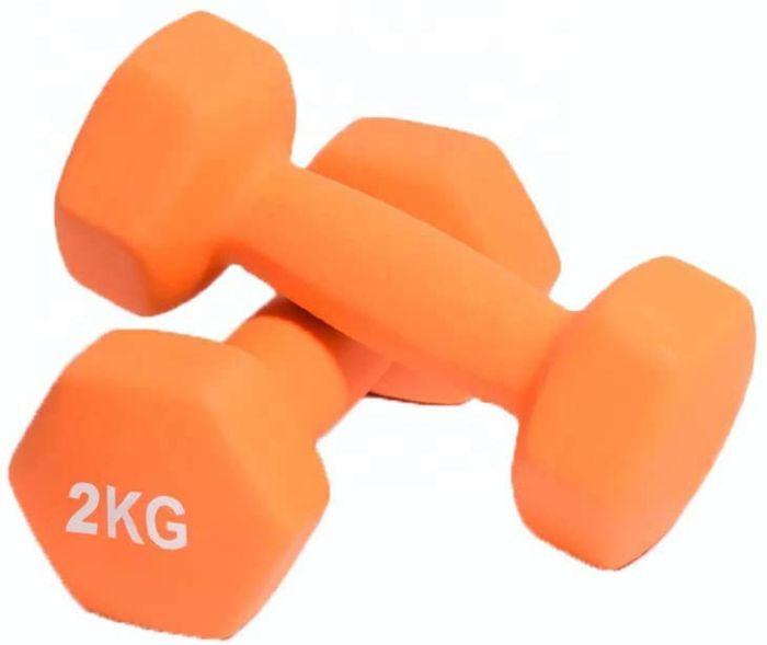 Fidusport Dumbbell Set Neopren beschichtet Gusseisenkern  2er Set (2x2kg -Orange) - Hanteln Gewichte Für Bodybuilding Fitness Gewichtheben