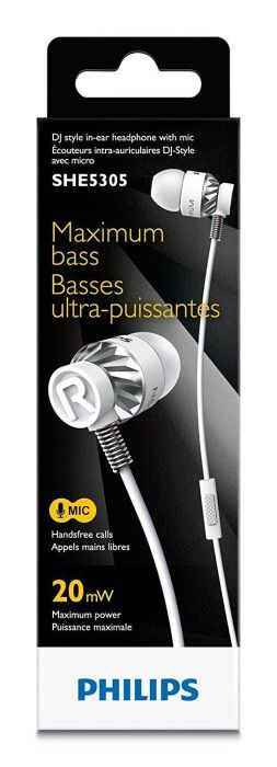 Philips SHE5305WT DJ Style In-Ear Headphones Kopfhörer Headset weiß mit Mikrofon UVP*39,95.(R4.F28)
