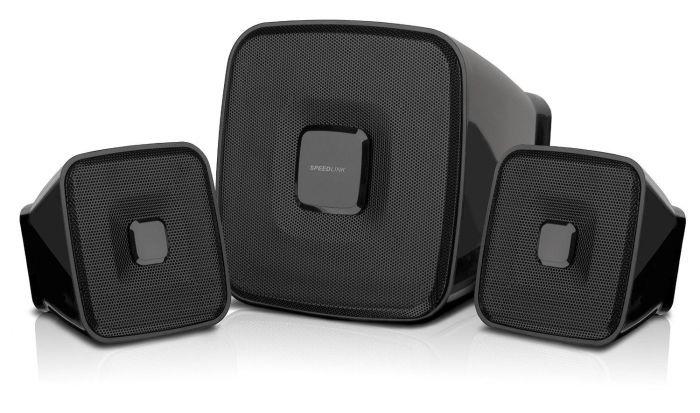 Speedlink (B-WARE)   Quaint Aktiver-Lautsprecher (7 Watt RMS Ausgangsleistung, stufenloser Lautstärkeregler, 3,5mm-Anschluss, USB-Stromversorgung) schwarz