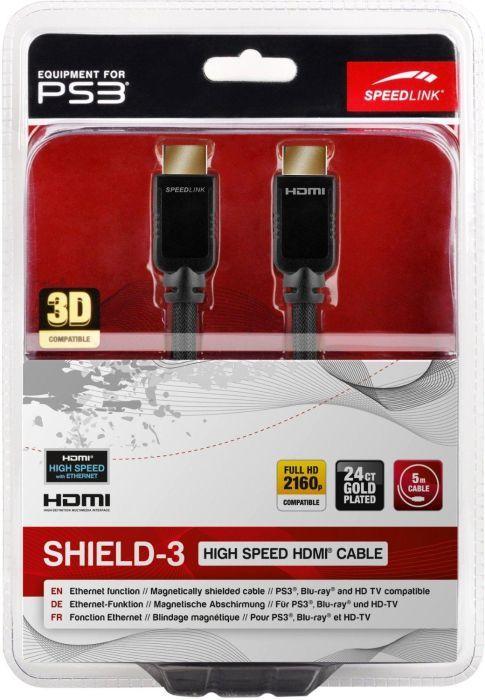 Speedlink (B-WARE)   Shield-3 HDMI Kabel für PlayStation PS3/PS4 (Unterstützt 4K Auflösung in 3D, 60 Fps, 2160p, HDMI 2.0, Ethernet, 5m)